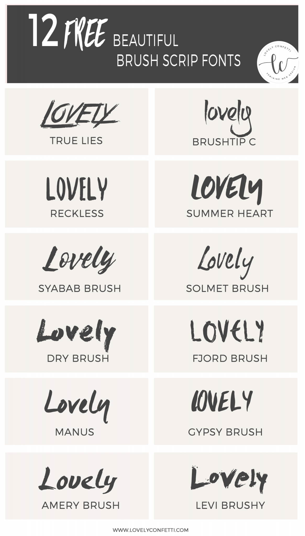 12 beautiful free brush script fonts - free resources - Lovely Confetti