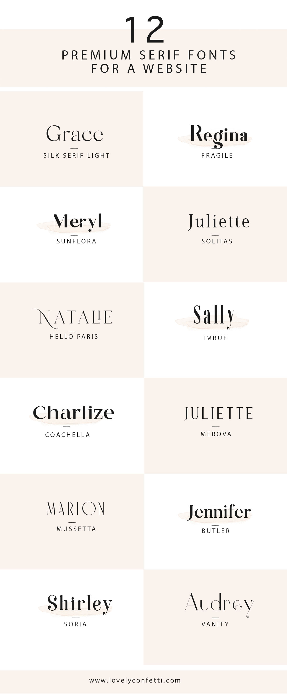 12 premium serif fonts for a website