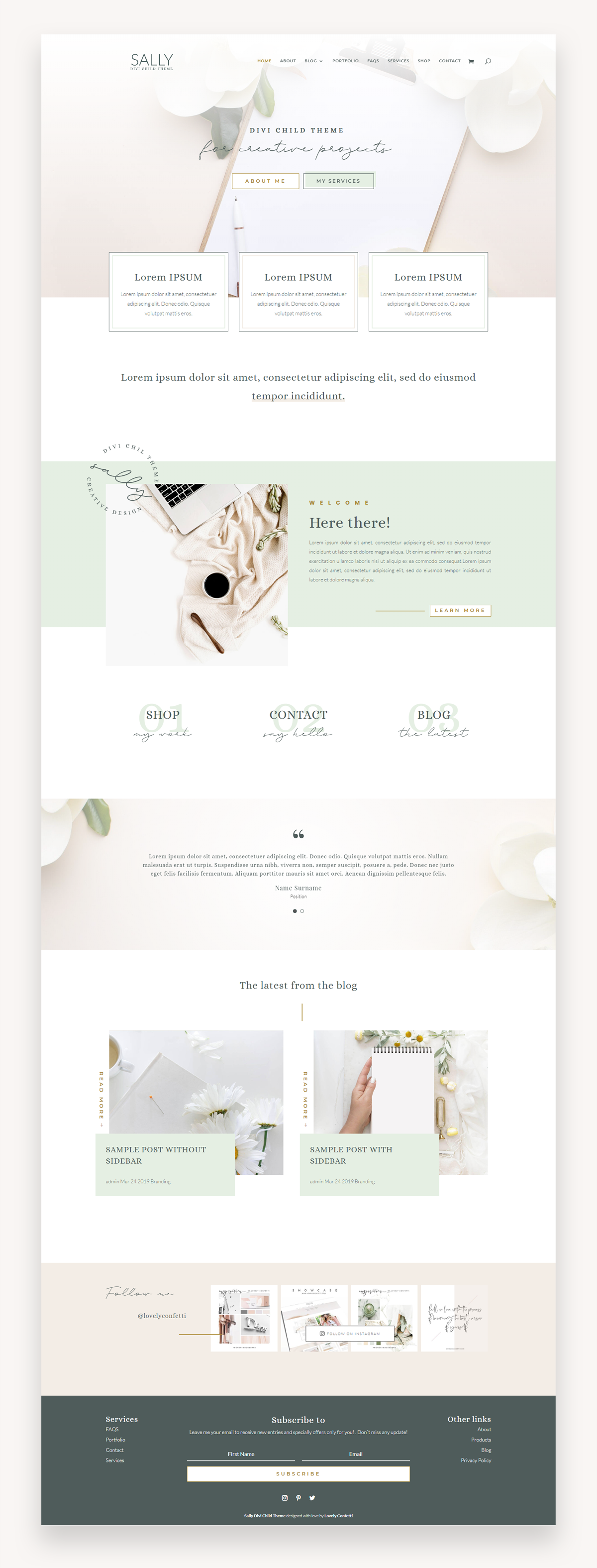 Sally feminine Divi Child Theme
