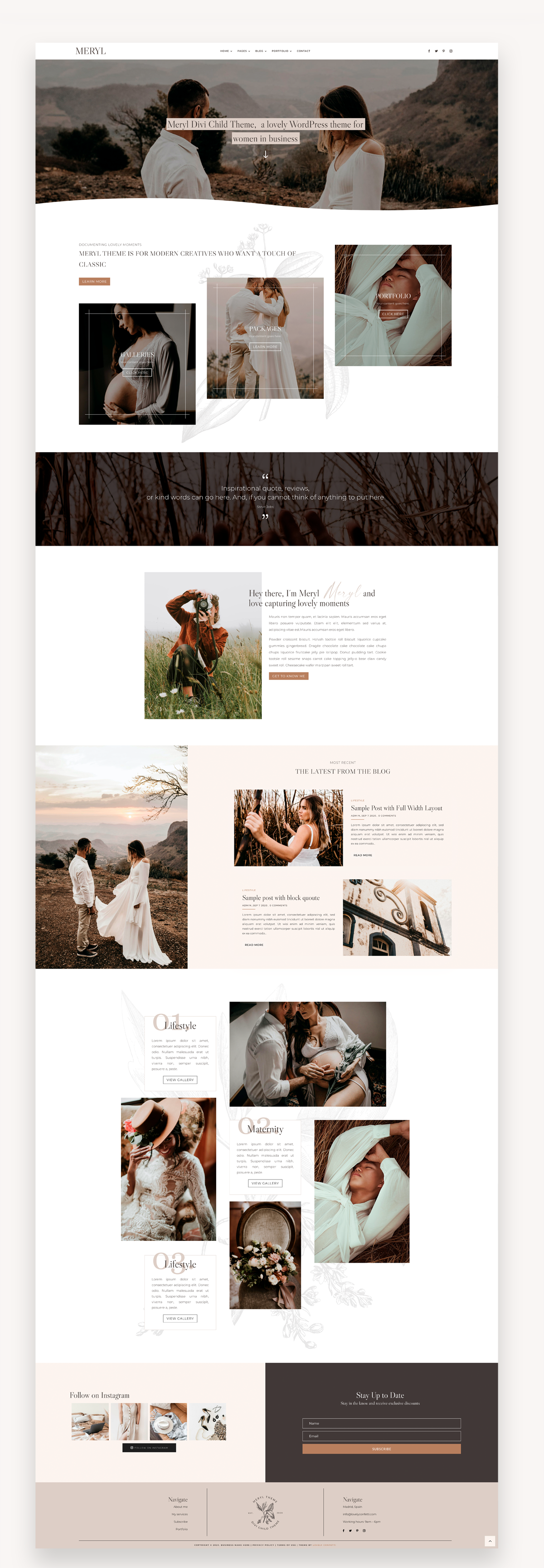 Meryl Photography Divi Child Theme